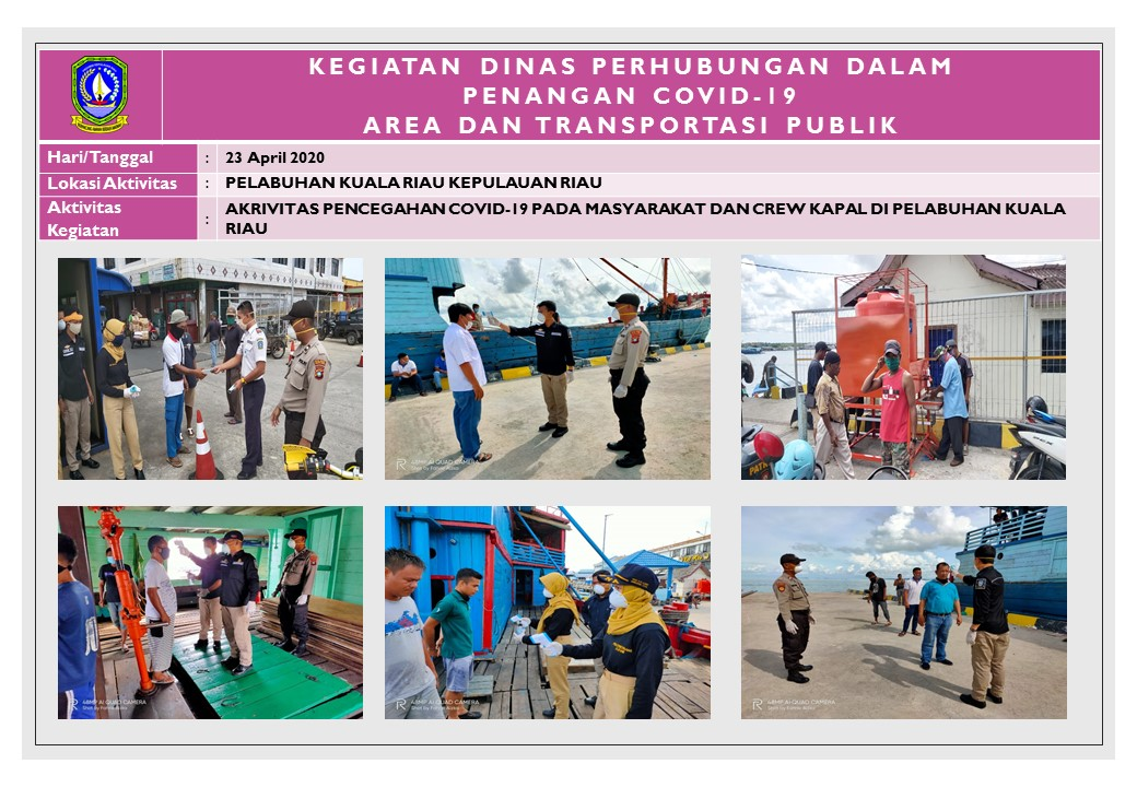 Foto Aktivitas Pencegahan Covid-19 Pada Mayarakat dan Crew Kapal di Pelabuhan Kuala Riau